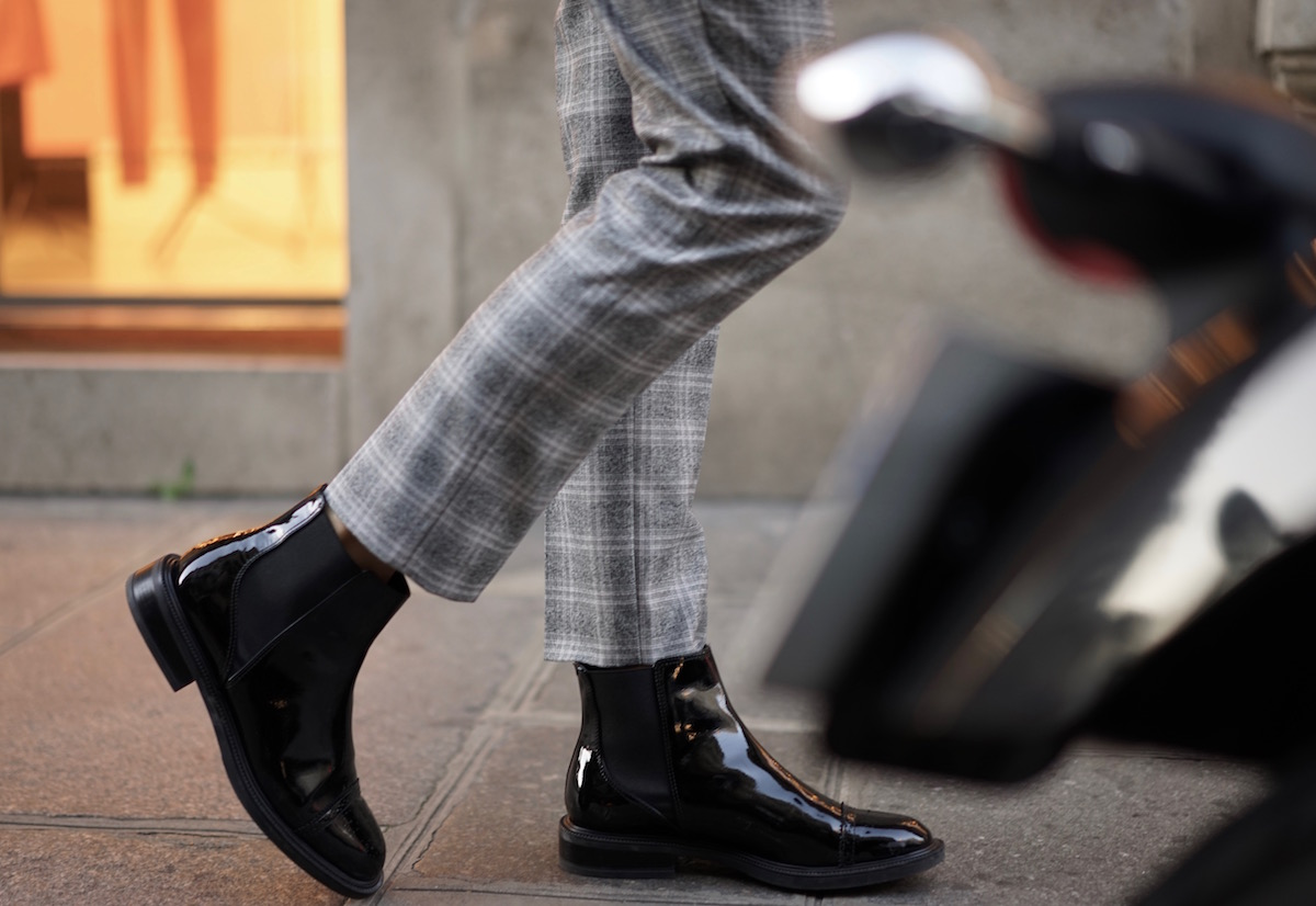 Paris Check Suit Patent Ankle Boots