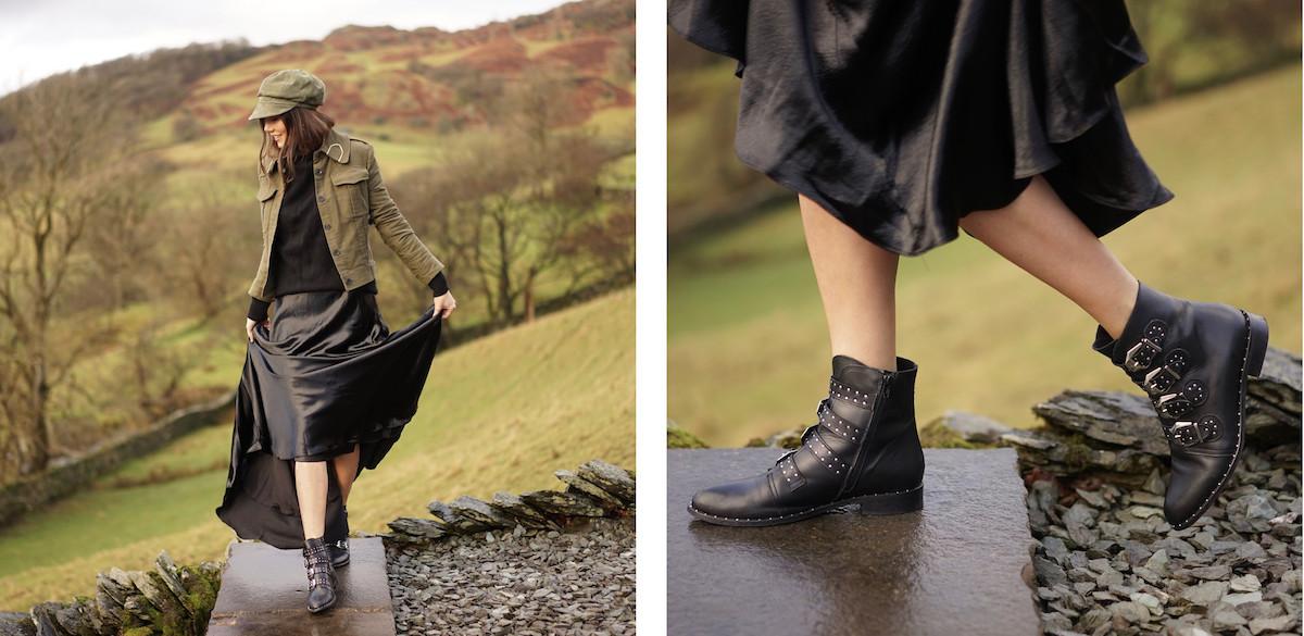 Lake District Country Satin Maxi Skirt Khaki Jacket Cap