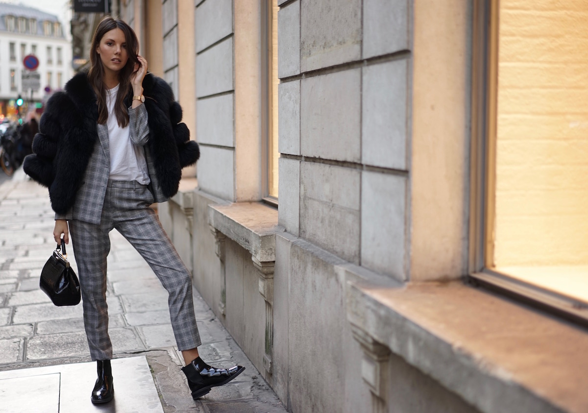 Paris Check Suit Fur Jacket