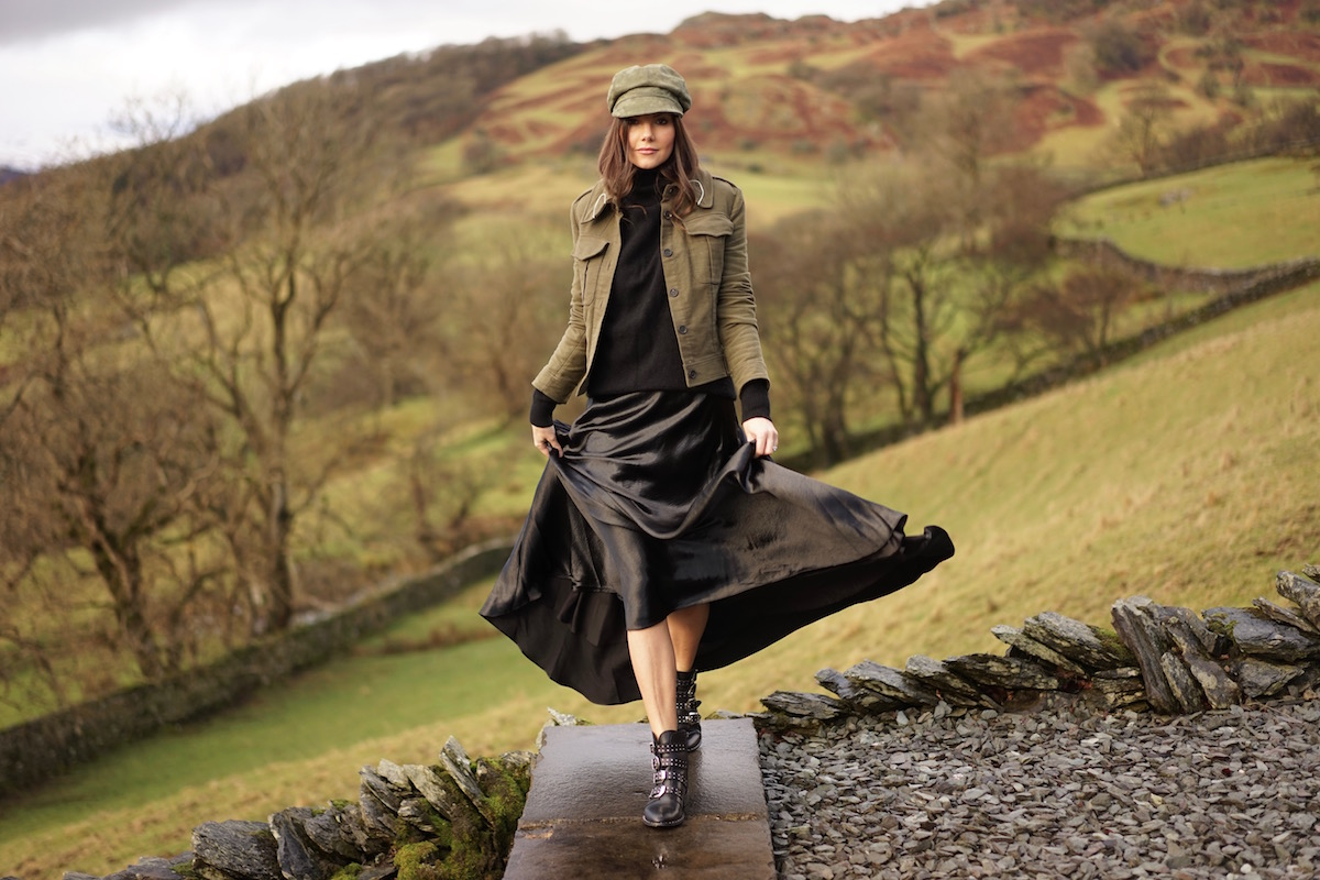 Lake District Country Satin Maxi Skirt Khaki Jacket Cap