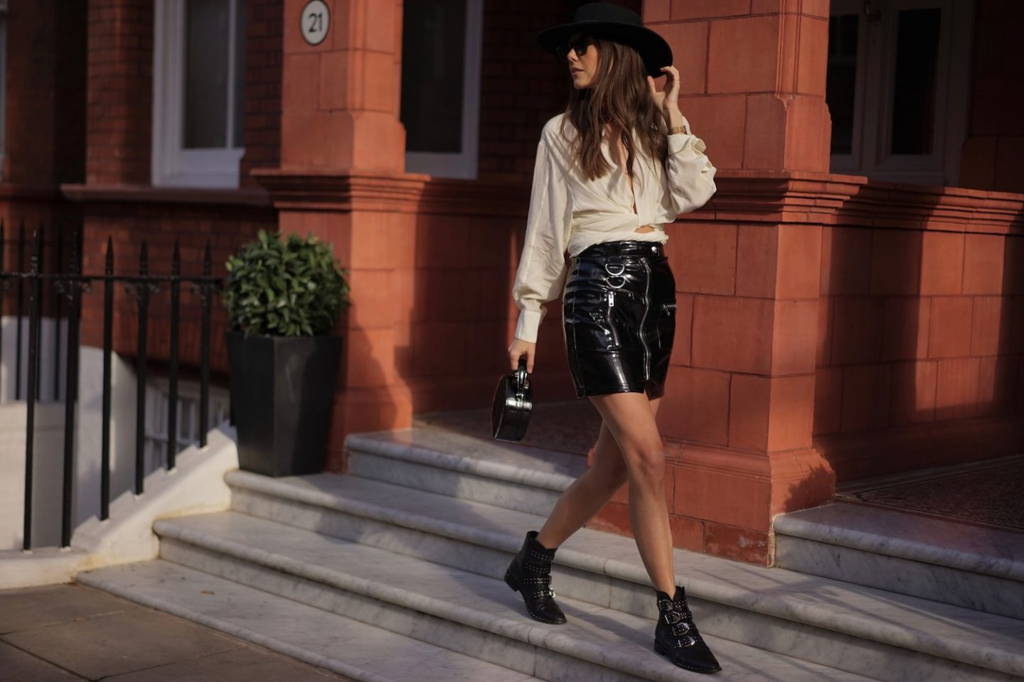 White Shirt PVC Skirt Black Felt Hat