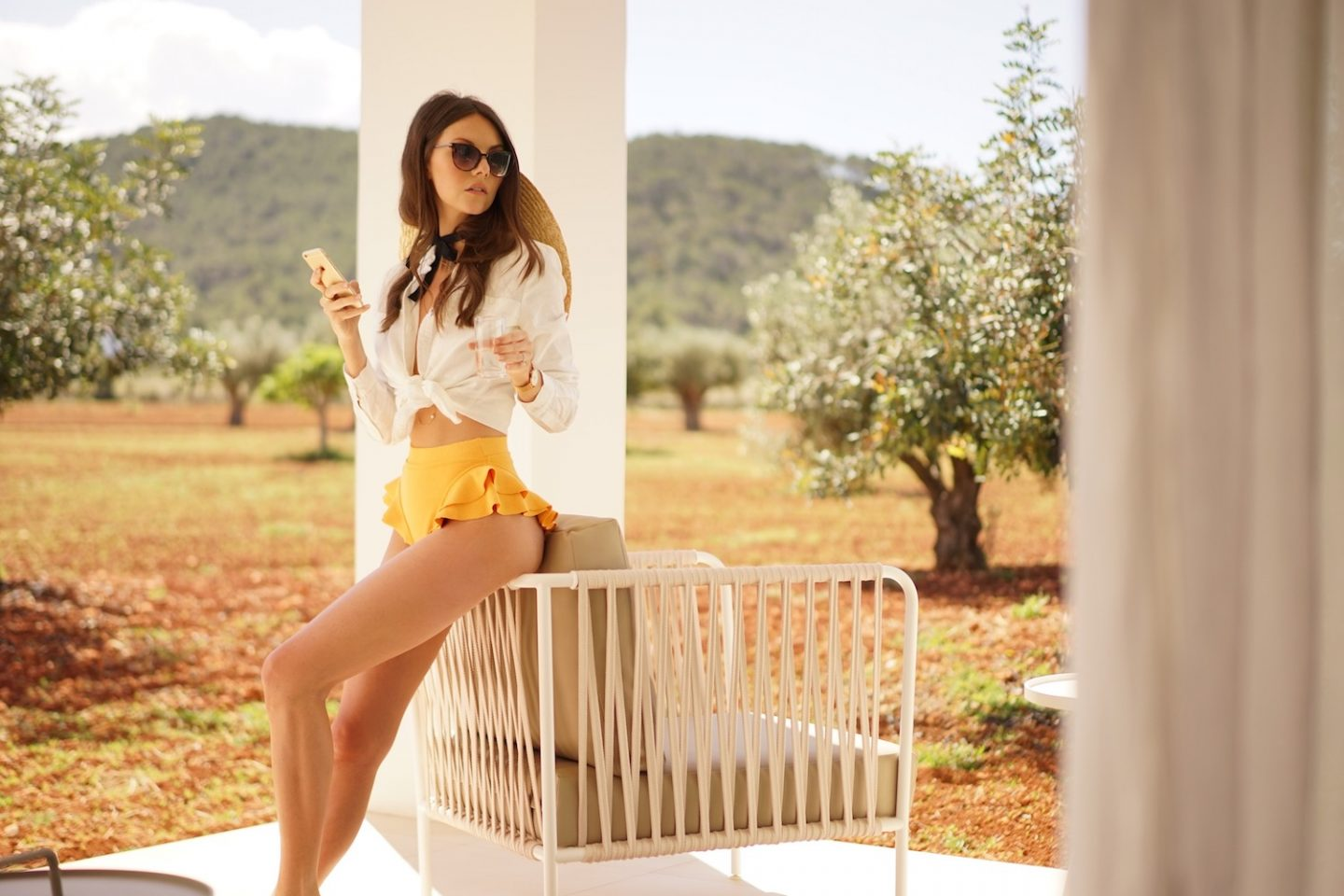 Ibiza Blogger White Shirt Yellow Clube Bossa Bikini