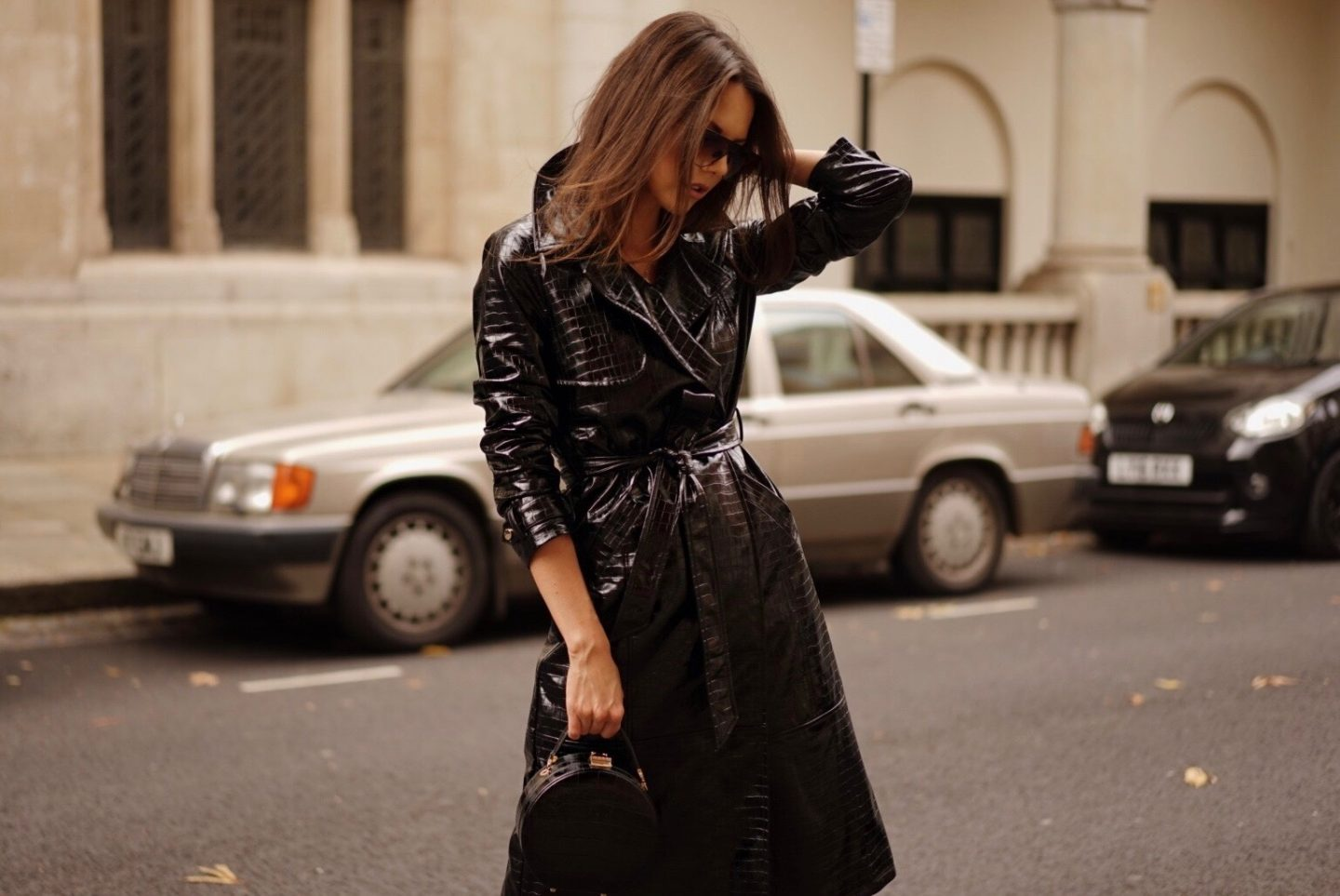 Black Croc Faux Leather Trench Coat Autumn Style