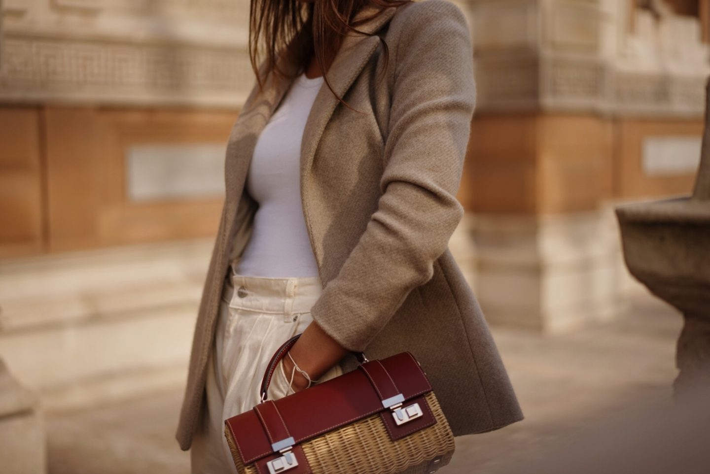 New Season Style Beige Jacket Moynat Cabotin Bag London Fashion Week