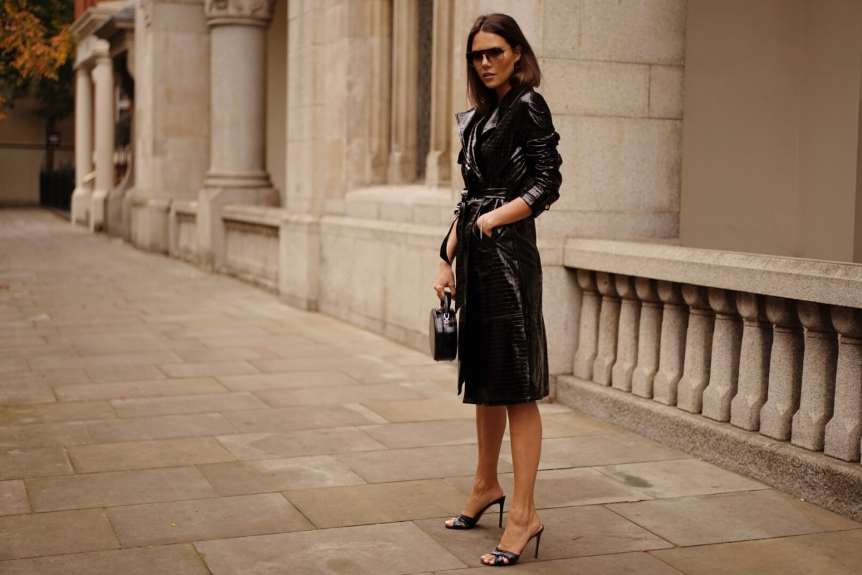 Black Croc Faux Leather Trench Coat Autumn Style